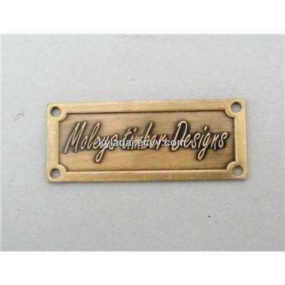 Embossed Metal Label Custom Metal Badge Brass Furniture Label Brass Embossed Label Lh