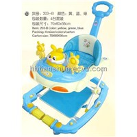 2012 new plastic baby rocker walkers with pushing hand and footpad