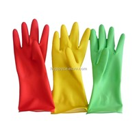 Colored household latex gloves