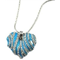 Heart shape Enamel Rhinestone Pendant Necklace
