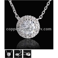 Luxurious Diamond Copper Necklace Prong Set Sparkling CZ Stones