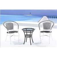 Outdoor Wicker Table and Chairs with Marble Bottom, Nice Design