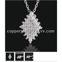 Rhombic Diamond Copper Necklace Prong Set Sparkling CZ Stones