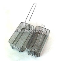 Handle Folding Fryer Basket,Stainless Steel Mesh Fryer Basket,