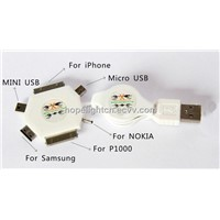 6 in 1 Multi-Function USB Retractable Charger Cable White Color