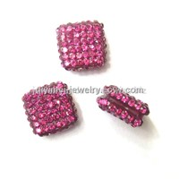 Crystal Square Beads Rose Red 10mm