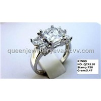 QCR110 big stone silver ring,hotsale cubic zirconia stone ring for women
