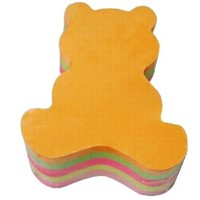 Sticky note pad, 3inx3in, die-cut pad, bear shaped