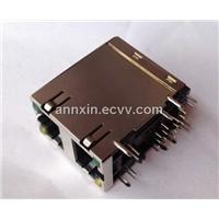 Cat5e/Cat6 Rj45 2 Ports Modular PCB Jacks/Pcb Jack Connector 90 Degree Shielded