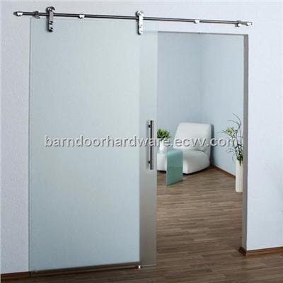 Modern stainless barn style sliding glass door hardware for Modern sliding glass doors