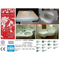 New material super white glass stone bathroom double sink