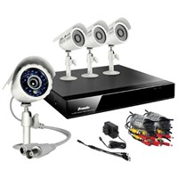 4CH H.264 DVR & 4 CMOS 480TVL 65ft Night Vision Outdoor Security Cameras and No Hard Drive