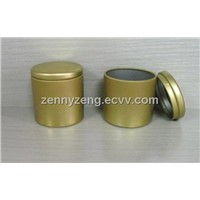 Round Tin Candle boxes, Round Tin can holderes, Round metal candle containers, Candle jars