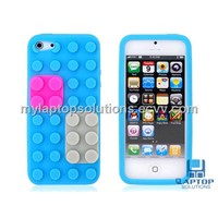 Sky Blue Building Block Style Soft Mobile Phone Silicone Protective Cover Case for Apple iPhone5