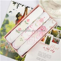 Soft Cotton Embroidery Handkerchief In Gift Box 2012