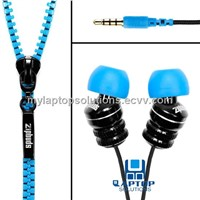 Stylish zipper in-ear earphone for iPhone 5,portable media player,computer,laptop