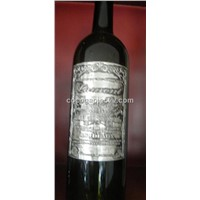 custom metal label, wine label, embossed aluminum label, bottle sticker