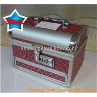 Aluminum Gift Box/Cosmetic Box/Makeup Box with Mirror Tray and Rawer