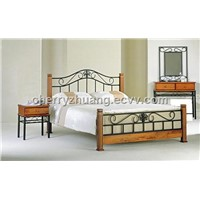 Iron Bed Frame  with Pine Wood Posts Metal Bed Frame ML-023