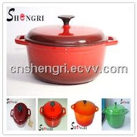 two tone red round enamel cast iron casserole