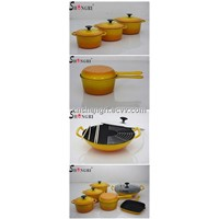 teo tone yellow enamel and cast iron cookware set