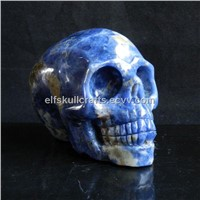 "3.38"" natural blue-veins stone carving skull, realistic, quartz rock skull #0268"