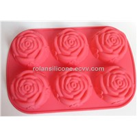 6 roses silicone cake mould