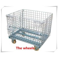 Metal galvanized wire mesh cage /wire mesh pallet cage with wheel