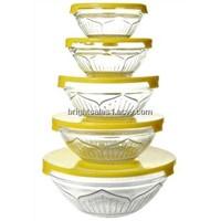 Micro-wave oven glass bowl, glass bowl set, 5pcs/set