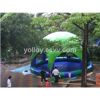 Toy Pool for Kids with Tent Inflatable Pool Toy Fun Land Pool Water Sand or Bouncy Ball Pool