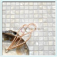 White fresh water shell mosaic on mesh with gaps