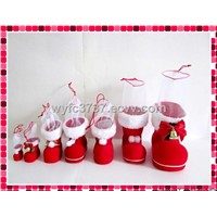 flocking outer plastic boots for Christmas decoration