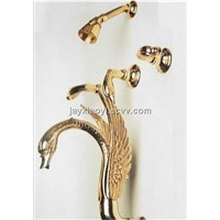 gold  finish 5 pcs swan bathtub and shower faucet