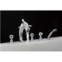 gold pvd crystal  handles dolphin tub and shower  faucet with handshower