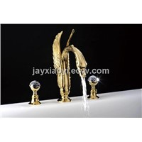 gold pvd crystal handles widespread lavtory sink swan faucet
