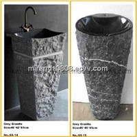 Stone Sink Basin, Bathroom Vanity Sink, Granite Marble Sink, Washbasin, Round Bowl Pedestal Basin