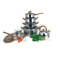 12pcs stainless steel cookware set with whistling kettle