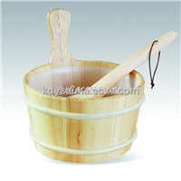 1 Gallon Wooden Sauna spa Bucket&ladle (KD-004A)