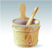 3L wooden bucket and spoon with plastic insert for saunas (KD-003b)