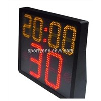 Basketball electronic shot clock and game time