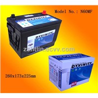 DYVINITY 12v 45ah MF car battery with CE, ISO9001 certification