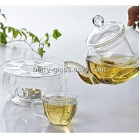 Heat Resistant Glass Tea Pot and Warm Holder Set