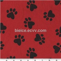 Poly plush faux fur fabric with printing dog claw for making throw pillow