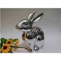 Silver Plated Ceramic Bunny, Rabbit