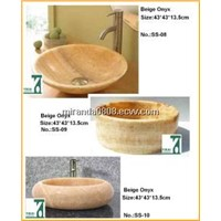 Stone Sink Basin, Bathroom Vanity Sink, Onyxsink, Washbasin, Round Bowl Pedestal Basin