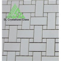 Super thassos glass, crystallized glass basket weave mosaic