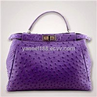 genuine ostrich skin with Chain Shoulder  bag_exotic handbags