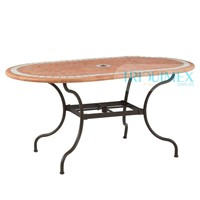 Wrought iron and terra cotta mosaic oval dining table with parasol base