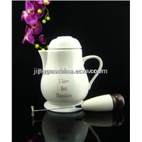 Ceramic Hot Chocolate Pot with Frother