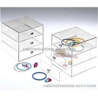 Three-Drawer Acrylic Storage Box Clear Lucite Jewelry Organizer Case